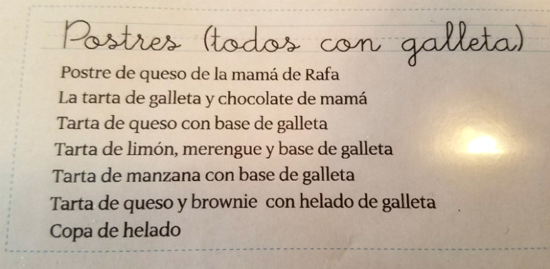 Bar Galleta - Postres