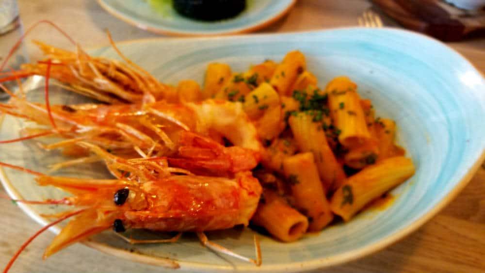 Bar Galleta - Rigatoni garofalo con gambón rojo y calabacín